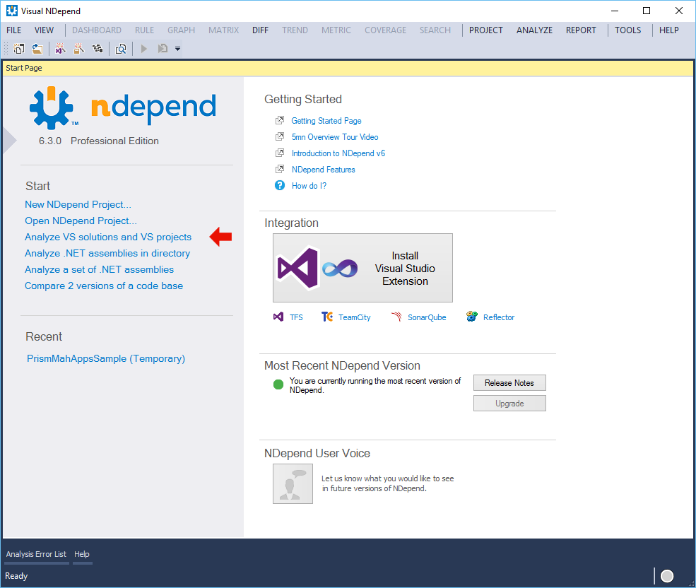 NDepend Stand-Alone Applikation