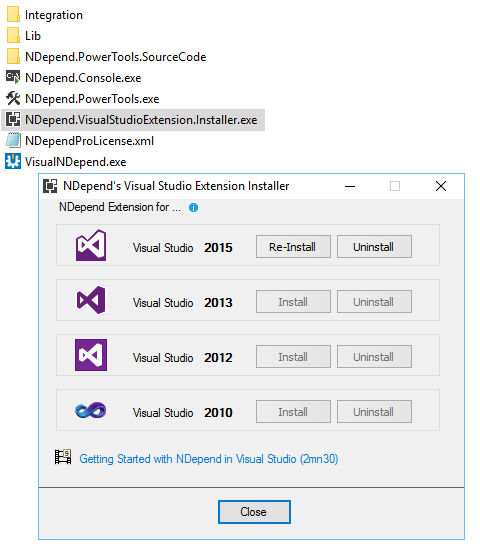 NDepend Visual Studio Installer