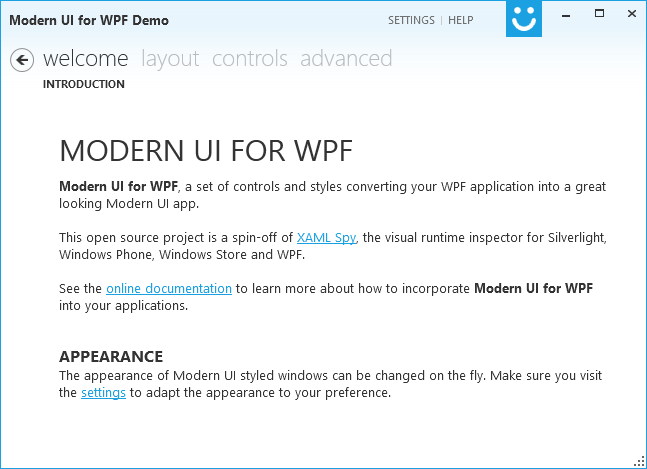 Modern UI for WPF Demo Window