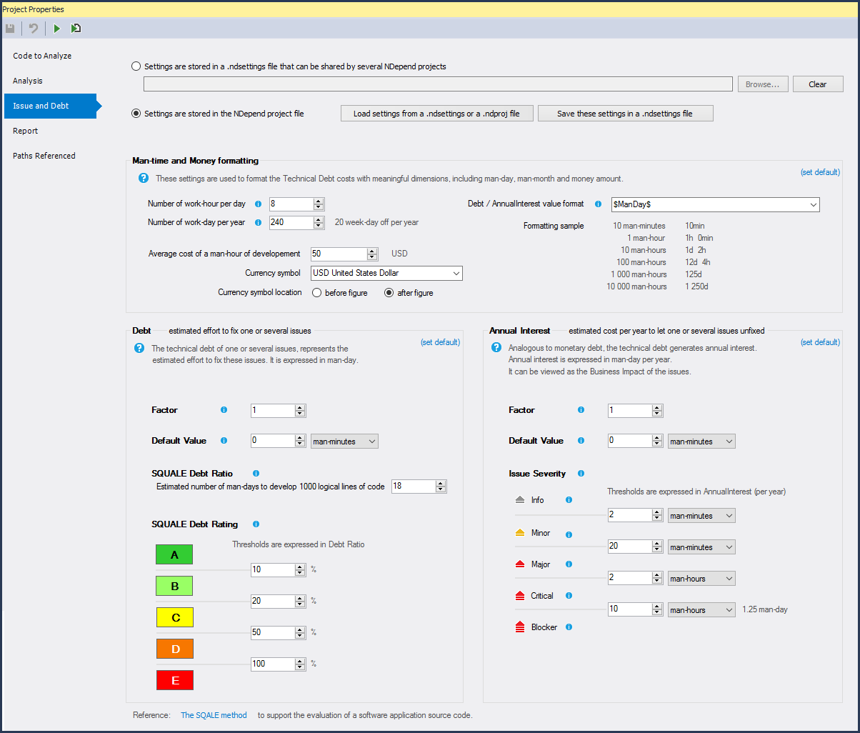 NDepend - Smart Technical Debt Estimation Settings