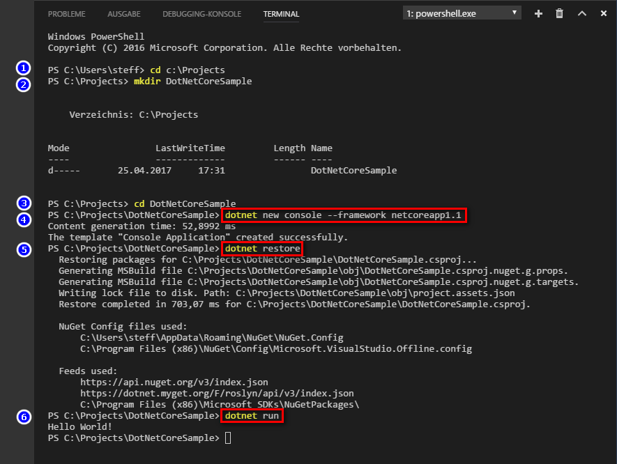 .NET Core Projekterstellung in Visual Studio Code