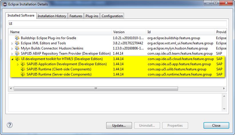 Eclipse Installation SAPUI5 Development Toolkit